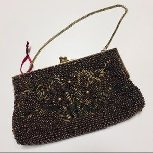 Anthropologie Beaded Copper Beaded Clutch Purse